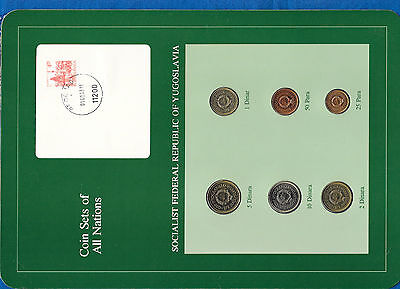 Coin Sets of All Nations Yugoslavia UNC 10,5,2,1 Dinara 50,25 Para 1983
