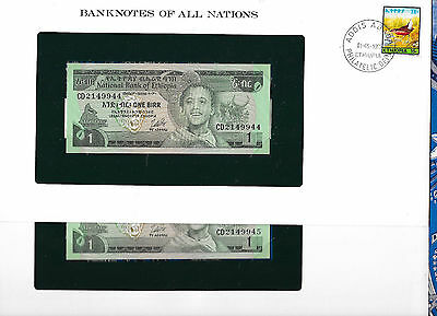 Banknotes of All Nations Ethiopia 1976 1 Birr P30b UNC Kidan 2 Consecutive