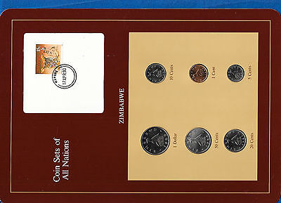 Coin Sets of All Nations Zimbabwe w/card 1980-1988 UNC 1, 50 cents 1988