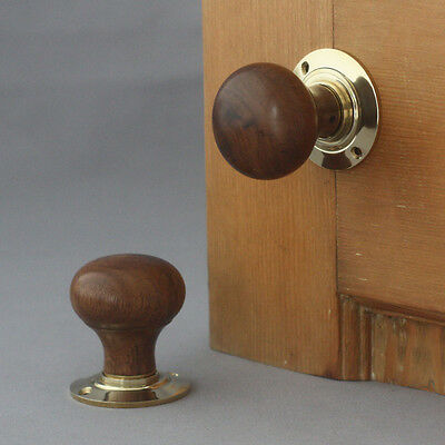 Teak Edwardian Bun Door Knobs