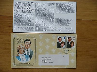 Charles & Diana Royal Wedding 1981 Souvenir Cover Stamps And Fact Sheet