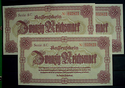 RARE Germany WWII 20 Mark Reichsmark 1945 UNC  3 consecutive serial Nr
