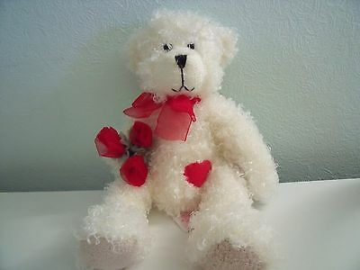 Russ Berrie Tilly Alices Bear Shop White Teddy Bear With Red Roses And Heart