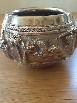 Antique c1890 Burmese Solid Silver Hand Embossed Indian Burma Dish/Bowl
