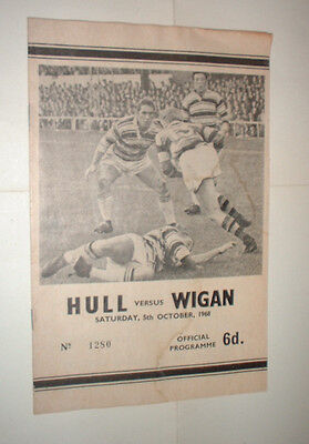 1968/69 RUGBY LEAGUE programme HULL v WIGAN