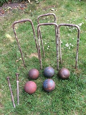 Antique Wooden Croquet Balls And Hoops And Pins C1890-1900