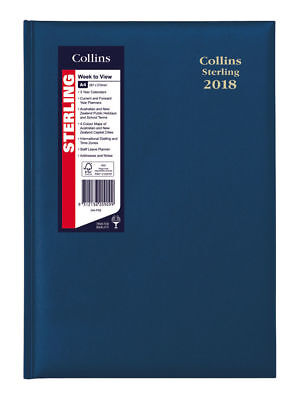 Diary 2018 Deden Collins Sterling A4 Navy Week to View 344.P59 30x22cm