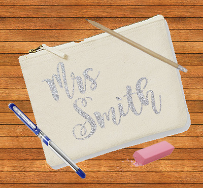 Personalised Make up Bag, Zipped Pouch, Cosmetics Bag, Zip up bag ,Teachers gift