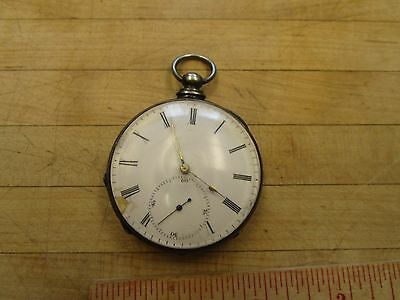 Antique Perret Locle pocket watch Argent Silver Hallmark For Parts Or Repair