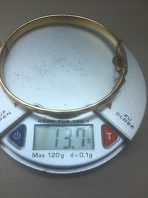 9ct Gold Cored Bangle Vgc 13.7 Grams