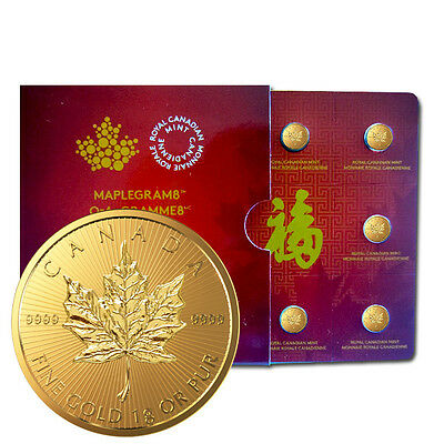 Maplegram8 mit 8 x 1 Gramm Gold Maple Leaf 2016 Goldmünze 999,9 im Blister