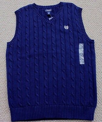 Chaps Ralph Lauren Cable Knit Sweater Vest XL18 20 $34 FREE Ship NWT Navy Blue