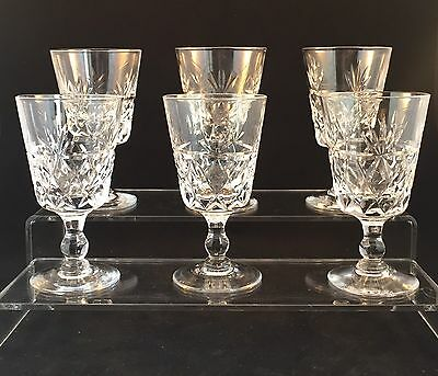 6 Royal Brierley BRUCE Cut Sherry Glasses Signed 1st Quality 9.7 Cm Tall