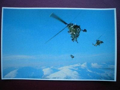 Falklands Task Force Postcard Rp Wwii  Sea King Helicopter Ferrying Service Troo