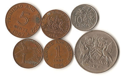 Six coins from Trinidad and Tobago, 1, 5, 10, and 50 cents, 1966 - 1990