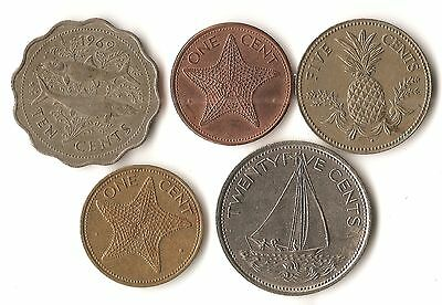 Five coins from The Bahamas, 1, 5, 10, and 25 cents, dated 1969 -1998, bonefish