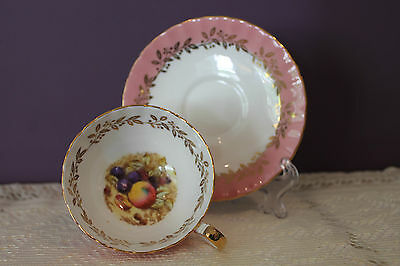 Aynsley England Orchard Fruit Tea Cup And Saucer Signed D. Jones