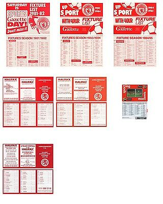 7 x MIDDLESBROUGH FC FIXTURE LISTS (1981-82 to 1991-92)