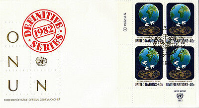 UNITED NATIONS 1982 DEFINITIVES 40c PLATE BLOCK FIRST DAY COVER NEW YORK SHS