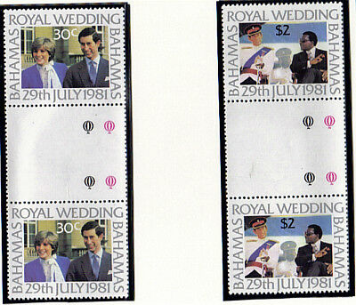 Bahamas 1981 Royal Wedding Pair In Tab Gutter Pairs Mnh