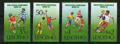 Lesotho Football World Cup Mexico 1986 Set Of All Four Commemorative Stamps Mnh