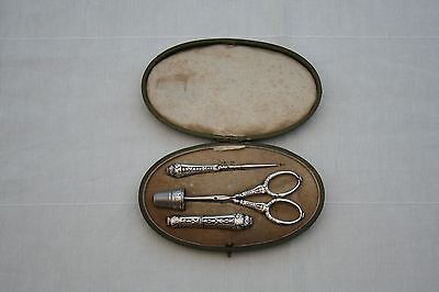 ANTIQUE FRENCH 1887 STERLING SILVER SEWING SET 4 PIECES IN ITS LEATHER BOX XIXth
