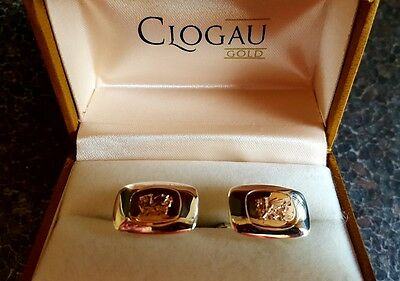 CLOGAU ' DRAGON ' Cufflinks in 9ct Rose Gold and Sterling Silver - Boxed