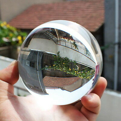 80mm Clear Round Glass Artificial Crystal Healing Ball Sphere Decoration TZ