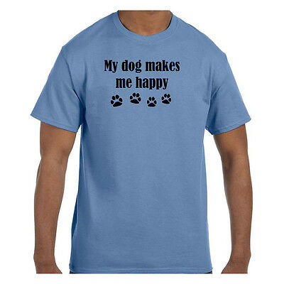 Funny Humor Tshirt My Dog Makes Me Happy Paw Prints Short or Long Sleeve