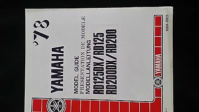 yamaha rd125dx / rd200dx model guide in english / french / german 1978