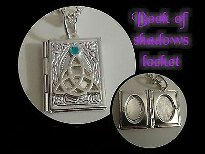 beautiful silver coloured book of shadows locket necklace & ear rings, wicca!