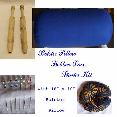 "Bobbin Lace Starter Kit: 18"" x 10"" Bolster Pillow, 24 four"" Bobbins, & more!"