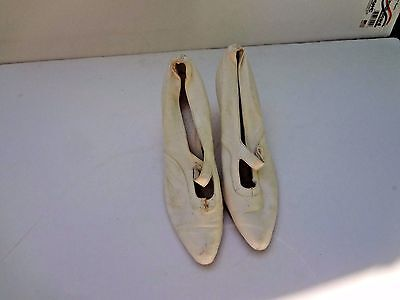 Vintage Antique Edwardian kid leather button wedding shoes  as is