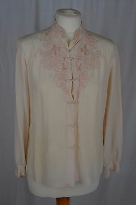 VINTAGE pale pink hand embroidered Chinese silk blouse size 10 floral