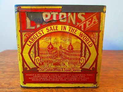 Rare Vntg Antique LIPTON /LIPTON'S FINEST TEA Tin empty w/Paper YELLOW LABEL