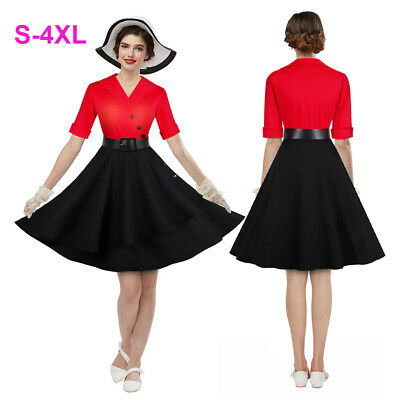 1950s Retro Rockabilly Pinup Dress Vintage Party Cocktail Swing Tea Dresses RED