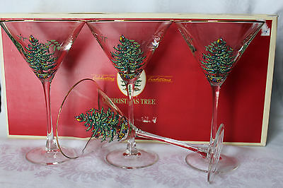 Spode Christmas Tree Martini Glasses 10 oz Gold Rim Boxed Set 4 Etched Signed