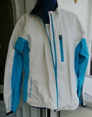 White & Pale Blue Galvin Green Gore-Tex Paclite Shell Waterproof Jacket Size M