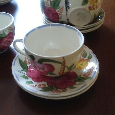 Four Vintage Belle Fiore Breakfast cups & saucers. Simpsons, Solian ware