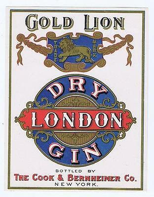 GOLD LION dry london gin, Cook Bernheimer NY Bottle label #113