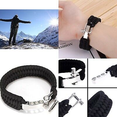 Paracord Bracelet Rope, Outdoor Survival, Camping, Hiking, Steel Shackle Buckle