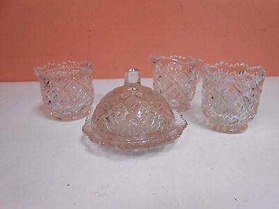 Childs Depression Glass Butter Dish Creamer Sugar Toothpick Holder Clear