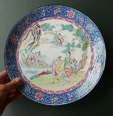 Antique Chinese hand painted enamel on copper charger- gods in landscape- 19th C