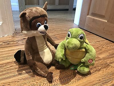 "RJ Racoon & Verne from Over The Hedge Dreamworks Soft Talking Toy 14"" In VGC"