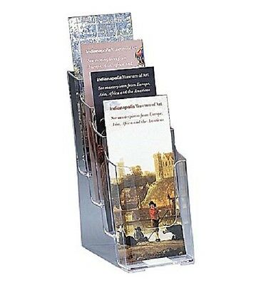 Staples Clear Plastic 4-Tier Literature Brochure Size Counter Wall Mount Display
