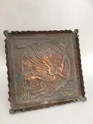 Arts and Crafts Hammered Copper Tray Griffon Design C1900