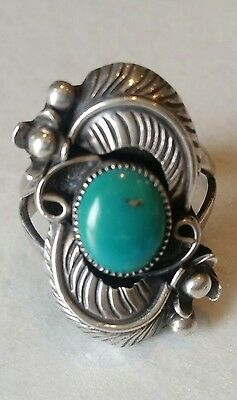 Navajo Vintage turquoise and Sterling silver ring Fabulous jewellery SIze M