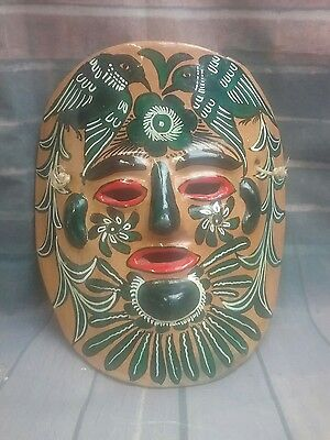 Mexico  colorful clay ceramic wall mask bird floral hand painted folk art