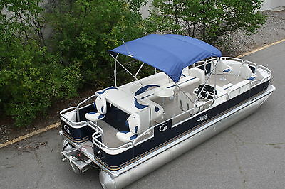New 24  Grand Island pontoon boat with 115 four stroke Mercury trailer cover