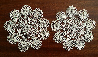 Two TATTED Lace Antique Old Vintage Hand Made PAIR of Tatting Doilies COASTERS
